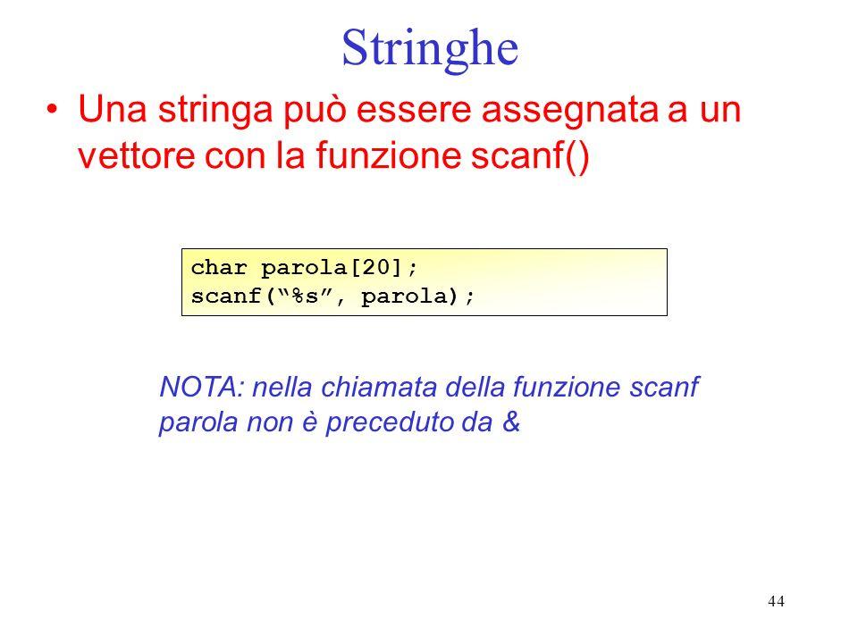 Stringhe Una stringa può essere assegnata a un vettore con la funzione scanf() char parola[20]; scanf( %s , parola);